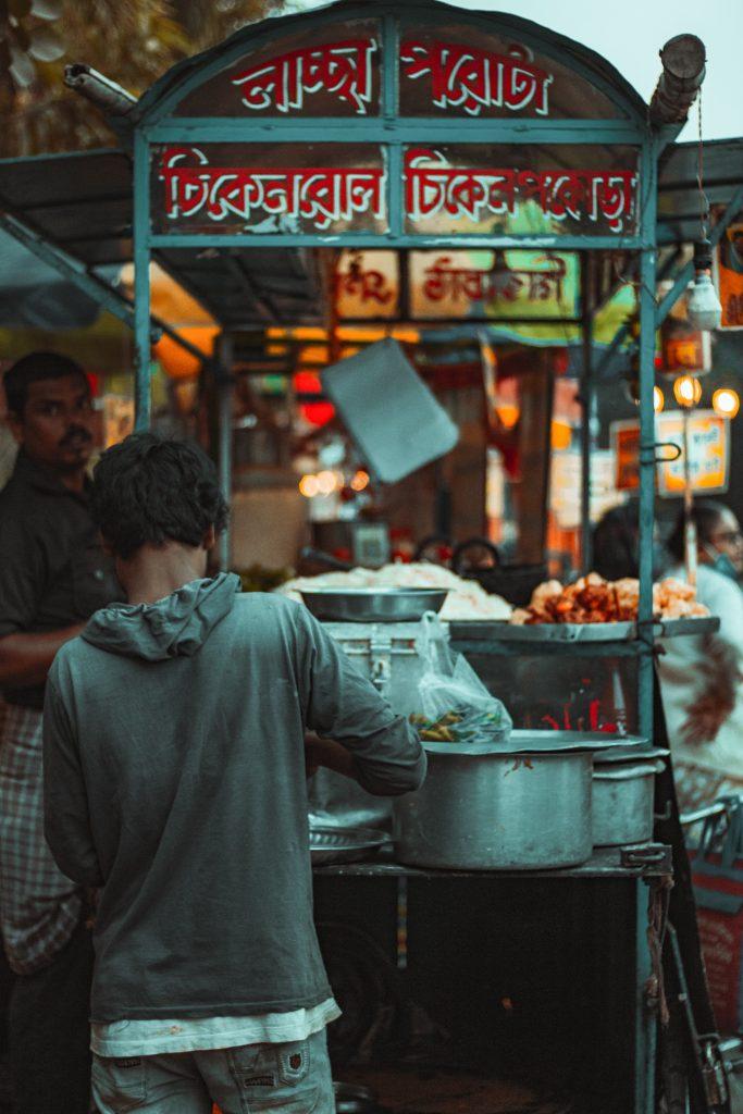 A boy at a roadside tea stall